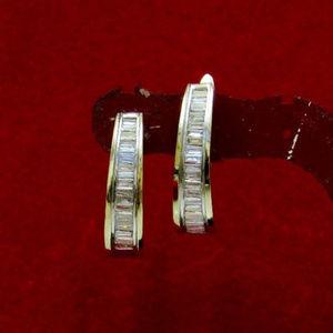 Jewelry - Baguette Diamond Hoop Earrings Solid 14k Gold